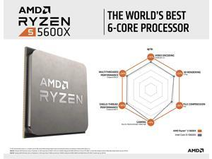 AMD Ryzen 5 5600X 6-core, 12-Thread Unlocked Desktop Processor - Tray Version (No Cooler)
