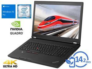 "Lenovo ThinkPad P71 Notebook, 17.3"" FHD Display, Intel Core i7-7820HQ Upto 3.9GHz, 8GB RAM, 256GB NVMe SSD, NVIDIA Quadro M620, HDMI, Micro DP, Thunderbolt, Wi-Fi, BT, Windows 10 Pro (20HK001MUS)"