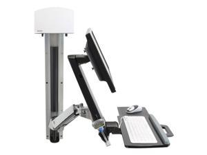 Ergotron StyleView Sit-Stand Combo System With Medium Silver CPU Holder - Mounting kit (articulating arm, wall track mou