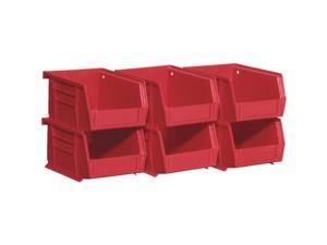 Quantum Storage Small Red Stackable Parts Bin (6-Pack) RQUS210RD