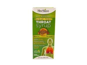 Herbion Naturals Throat Syrup - All Natural - Sugar Free - 5 oz Cough Cold and Flu