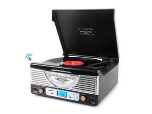 Retro Vintage Classic Style Bluetooth Turntable Vinyl Record Player with USB/MP3 Computer Recording (Black)