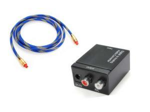 New Digital Optical Coaxial Toslink to Analog RCA L/R Audio Converter + Cable OD 5.0