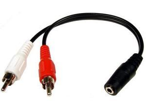 6in 3.5mm Stereo Jack to Dual RCA Cable