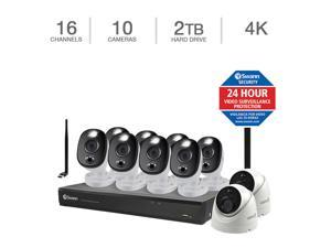 Swann 4K DVR Security Kit with 16 Channel DVR, 8 Sensor Warning Light Cams and 2 Dome Cams COD16-55802D8WLWF-US Surveillance Camera 16 Channels 10 Cameras 2TB 4K UHD