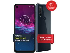 Motorola One Action | Unlocked | Made for US by Motorola | 4/128GB | 16MP Camera | Denim Moto Unlocked Smart Smartphone Cell Phone PAGL0001US