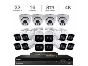 Lorex 32-Channel 4K NVR with 8TB HDD and (12) 4K Ultra HD IP Bullet & (4) 4x Motorized Varifocal Audio Dome Cameras UHD Security Surveillance System TN81388BC8F4