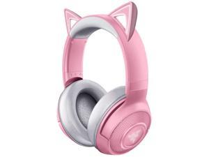 Razer Kraken BT Kitty Edition: Bluetooth 5.0-40ms Low Latency Connection - Custom-Tuned 40mm Drivers - Beamforming Microphone - Powered by Razer Chroma - Quartz Pink