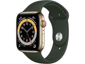 Apple Watch Series 6 (GPS + Cellular, 44mm) - Gold Stainless Steel Case with Cyprus Green Sport Band M07N3LL/A Smart Watch