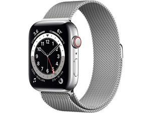 Apple Watch Series 6 (GPS + Cellular, 44mm) - Silver Stainless Steel Case with Silver Milanese Loop M07M3LL/A  Smart Watch
