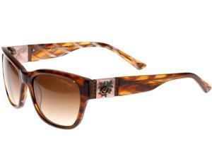 Ed Hardy EHS Black Rose Women's Sunglasses - Brown Horn