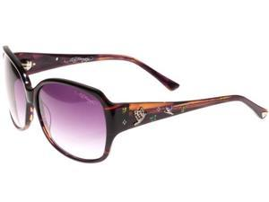 Ed Hardy EHS Flock Of Butterflies Women's Sunglasses - Purple Horn