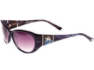 Ed Hardy EHS Jumping KOI Women's Sunglasses - Grey Horn