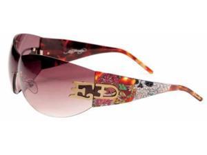 Ed Hardy EHS 052 ED SKULL & ROSES Sunglasses - TORT