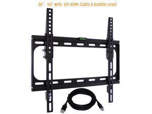 "Tilt TV Wall Mount Bracket Fits 26-55"" TV's 400x400 VESA Low Profile Ultra Slim including Bubble Level & 6ft. HDMI Cable &-(Black)- KORAMZI KWM989T"