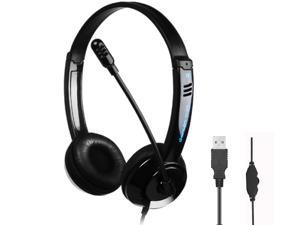 USB Wired Headset, Stereo Headphone With Noise Reduction Microphone and Volume Control Function for Business Communication Online Chat UC Skype Lync Softphone Call Center Office Game (Black)