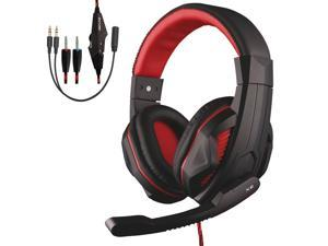 Wired PC gaming headset, 3.5mm live game chat subwoofer stereo headset, earplugs with microphone noise reduction headset, suitable for computers, notebooks, mobile phones, PS4, Black + Red