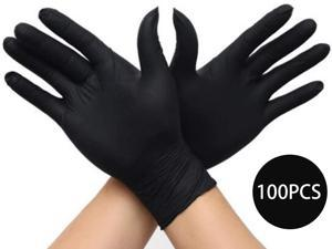 Disposable PVC gloves, multifunctional professional powder-free gloves for industrial kitchen beauty experiments 100PCS/box, black, size M