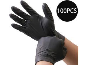 100PCS Multifunctional Disposable Professional Gloves Medical Exam Gloves Powder-Free Kitchen Food Safety Cleaner (50 Pairs) Large Size, Black