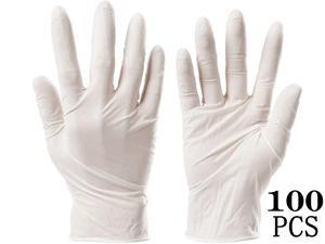 100PCS Multifunctional Disposable Professional Gloves Medical Exam Gloves Powder-Free Kitchen Food Safety Cleaner (50 Pairs) Large Size, white