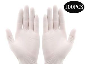 100PCS Multifunctional Disposable Professional Gloves Medical Exam Gloves Powder-Free Kitchen Food Safety Cleaner (50 Pairs) Medium size, white