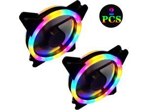 Computer case fan, 2 dual-ring double-sided (RGB) computer case cooling fans, color LED ultra-quiet, D type 4Pin + 3Pin
