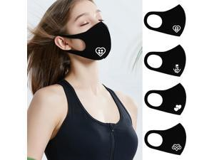 Dust mask, stylish, breathable and dustproof reusable mask, suitable for outdoor activities, travel, daily protection, suitable for men and women, 4pcs, black