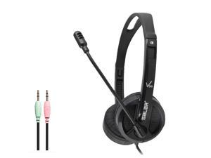 3.5MM Wired Headset, Network Acoustic Stereo Headset With Microphone Noise Reduction Gaming Headset, Compatible With Computers, Tablets, PS4, Xbox One, Nintendo Switch-Black
