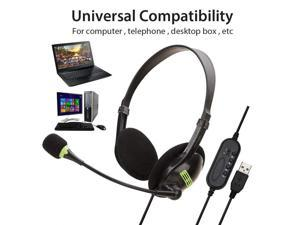 USB Computer Headset, Wired Business Communication Online Chat Headphone  With Noise Reduction Microphone and Audio Control  for PC UC Skype Lync Softphone Call Center Office Games School Education