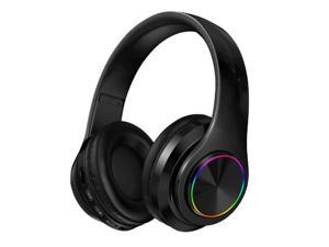 Wireless Bluetooth Headset, Folding Gaming Headphone with Built-In Noise Reduction Microphone, Support TF Card, HiFi Stereo Headset with 3.5MM Cable, For IOS/Android, Tablet, Computer, Laptop (Black)