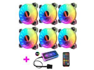 RGB Series Case Fan 6 Packs, 120mm Case Cooler with Remote Music Controller, Reinforced Silent Fan Blade Design, Adjustable Color Non-Slip PC Computer LED Radiator--6pin