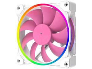 120mm Chassis Cooling Fan, RGB LED Luminous Computer Radiator, 3-Pin ARGB+4-Pin PWM Speed Control Cooling Fan (Pink)