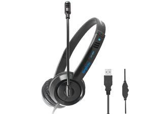 USB Wired Headset with Noise Canceling Microphone and Volume Controller, PC Computer Headphone for UC Softphones Business Skype Lync Conference Online Course Remote Work