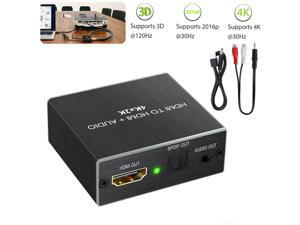HDMI audio extraction splitter, HDMI to Optical Toslink Saudio extraction splitter, HDMI to Optical Toslink SPDIF with 1M HDMI 1.4 Cable and 3.5mm Stereo Audio Splitter Adapter Support 4K x 2K 3D