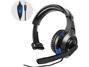PS5 PS4 Headset with Mic, One Ear Mono Gaming Headphones with Microphone Control, 3.5MM Wired Unilateral Headset for Playstation 5 4, Xbox Series X/S, Xbox One, Nintendo Switch/Lite, Laptop & PC