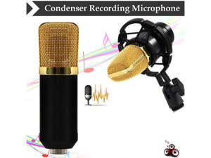 Megadream® Professional 3.5mm Condenser Sound Recording Microphone with Free Shock Mount Ideal for Radio Broadcasting Studio, Speech, Voice-Over Sound Studio, Recording and so on (Black)