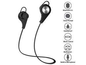 Wireless Sports Headset, Megadream® Bluetooth 4.1 +EDR Jogger Running Sweatproof APT-X CVC 6.0 Stereo In-ear Earbuds Multi Pairing with Handsfree Mic for iPhone Sony Samsung Motorola LG - Black