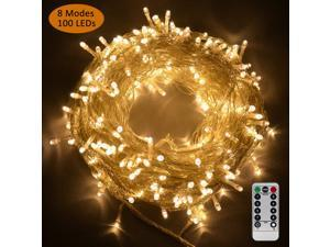 Fairy String Lights 100 LEDs 8 Modes Icicle Lights with Remote Control Warm White Twinkle Light Battery Powered Decorative Lights for Outdoor Indoor Wedding Birthday Party Garden Bedroom Stage