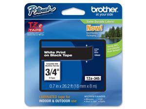 Brother Label Tape Cartridge,  Label Type Indoor/Outdoor White/Black  PET TZe345