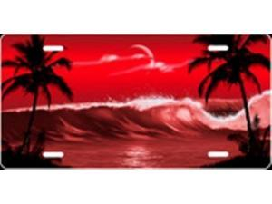 607571009a1430 Palm Wave (Red) Airbrush License Plate Free Names on this Air Brush