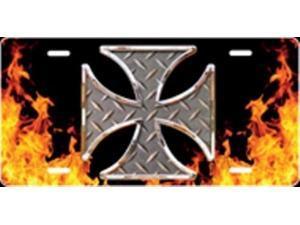 150b3108c7e6b6 Iron Cross on Flames Airbrush License Plate Free Names on this Air Brush