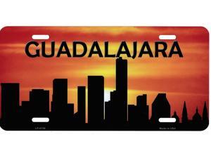 Guadalajara Skyline Silhouette Metal License Plate