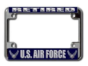 U.S. Air Force Retired  Chrome Motorcycle License Plate Frame