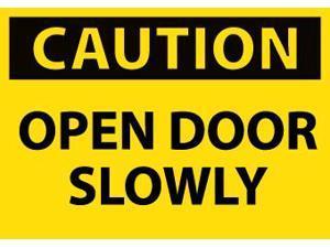 NMC C55AP-CAUTION, OPEN DOOR SLOWLY, 3X5, PS VINYL, 5/PK (PAK OF 5)