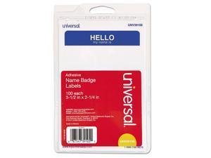 Innovera 92235 Hello Self-Adhesive Name Badges, 3 1/2 X 2 1/4, White/Blue, 100/Pack