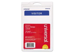 Innovera 92245 Visitor Self-Adhesive Name Badges, 3 1/2 X 2 1/4, White/Blue, 100/Pack