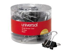 """Universal Small Binder Clips, 3/8"""" Capacity, 3/4"""" Wide, Black, 40/Pack"""