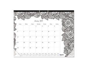 Blueline C2917311 Doodleplan Desk Pad Calendar W/Coloring Pages, 22 X 17, 2017