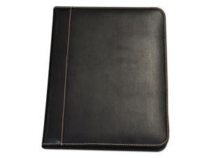 Samsill 71710 Contrast Stitch Leather Padfolio, 8 1/2 X 11, Leather, Black