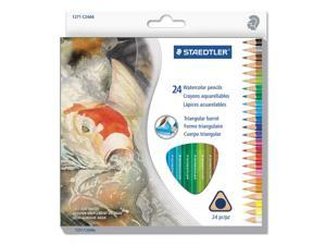 Staedtler 1271C24A6 Triangular Watercolor Pencil Set, H/#3, 2.9Mm, 24 Assorted Colors